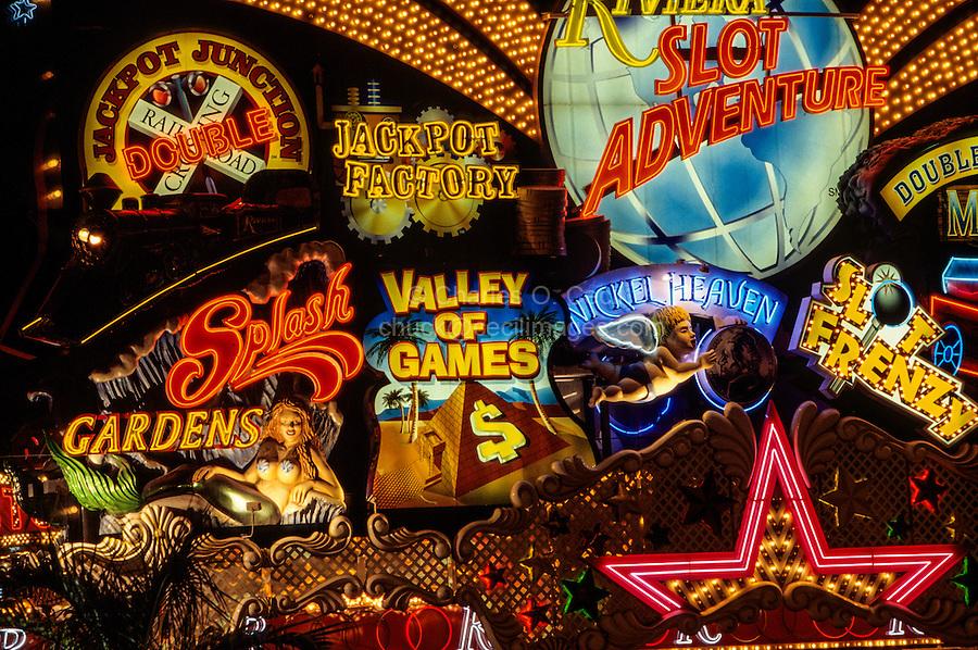 "Las Vegas, Nevada.  Neon Advertising along Las Vegas Boulevard (""The Strip"") at Night."