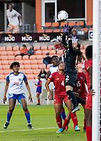 HOUSTON, TX - FEBRUARY 3: Sasha Fabregas #12 of Panama makes a save during a game between Panama and Haiti at BBVA Stadium on February 3, 2020 in Houston, Texas.