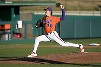 Starting pitcher Sam Weatherly (22) of the Clemson Tigers recorded 14 strikeouts in 6 innings to earn the 2-0 win in a game against the Stony Brook Seawolves on Friday, February 21, 2020, at Doug Kingsmore Stadium in Clemson, South Carolina. (Tom Priddy/Four Seam Images)