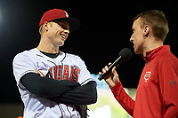 Indianapolis Indians right fielder Austin Meadows (13) does a post game interview after game against the Toledo Mud Hens on May 2, 2017 at Victory Field in Indianapolis, Indiana.  Indianapolis defeated Toledo 9-2.  (Mike Janes/Four Seam Images)