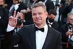 """Cannes Film Festival 2021 . 74th edition of the 'Festival International du Film de Cannes' under Covid-19 outbreak on 08/07/2021 in Cannes, France. US actor Matt Damon and French actress Camille Cottin arrive for the screening of the film """"Stillwater"""" from  director Tom McCarthy."""