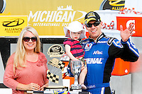 18 June, 2011: Carl Edwards celebrates his win in the Alliance Truck Parts 250 with his family at Michigan International Speedway in Brooklyn, Michigan. (Photo by Jeff Speer :: SpeerPhoto.com)
