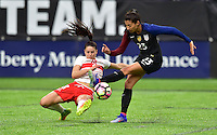 Minneapolis, MN - October 23, 2016: The U.S. Women's National team go up 3-1 over Switzerland during an international friendly game at U.S. Bank Stadium.