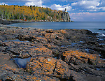 Split Rock Lighthouse SP, MN  <br /> Orange colored lichen covers the rocks on the shoreline of Lake Superior with fall forests and Split Rock Lighthouse in the distance