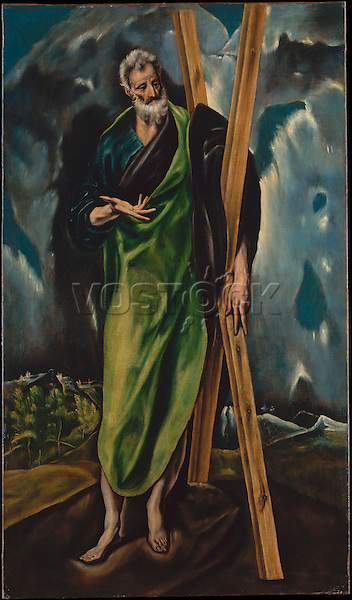Saint Andrew by Workshop of El Greco (Spanish, ca. 1610). The Metropolitan Museum of Art, New York.