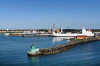 Blick über Fährhafen auf Rønne, Insel Bornholm, Dänemark, Europa<br /> View across ferry port, Roenne, Isle of Bornholm, Denmark
