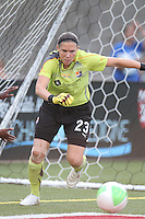 Jenni Branam of Sky Blue FC right before making a save against the Boston Breakers