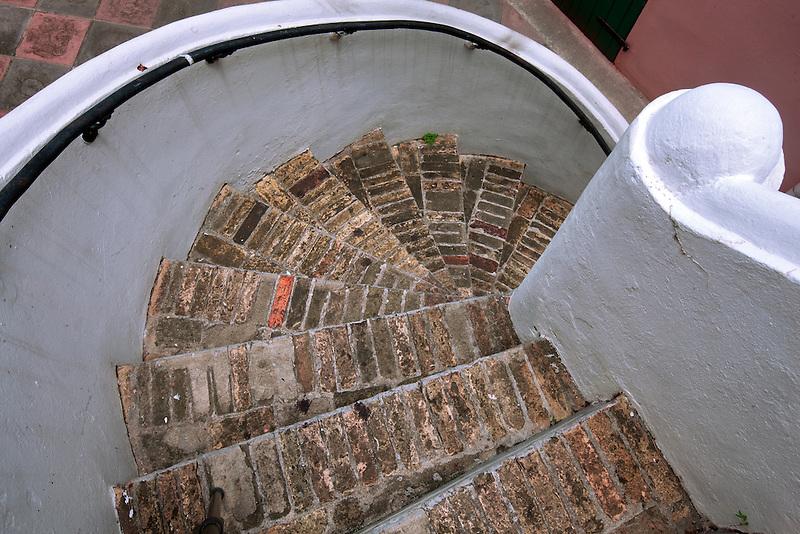 Historic spiral steps in Charlotte Amalle. St. Thomas. US Virgin Islands
