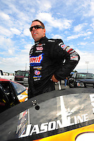 Sept. 30, 2011; Mohnton, PA, USA: NHRA pro stock driver Jason Line during qualifying for the Auto Plus Nationals at Maple Grove Raceway. Mandatory Credit: Mark J. Rebilas-
