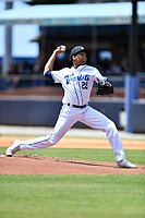 Asheville Tourists starting pitcher Jose Alberto Rivera (28) delivers a pitch during a game against the Greenville Drive on May 23, 2021 at McCormick Field in Asheville, NC. (Tony Farlow/Four Seam Images)