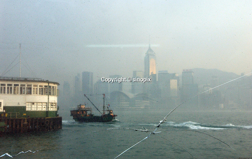Overview Hong Kong Island on the ferry in Hong Kong..
