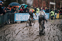 CX World Champion Mathieu Van Der Poel (NED/Correndon-Circus) chasing Belgian National CX Champion Toon Aerts (BEL/Telenet Fidea Lions) in the mud<br /> <br /> Superprestige cyclocross Hoogstraten 2019 (BEL)<br /> Elite Men's Race<br /> <br /> ©kramon