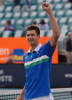 MIAMI GARDENS, FL - APRIL 04: Hubert Hurkacz reacts after defeating Jannik Sinner 7-6 (7-4) 6-4 during the Men's finals at the 2021Miami Open at Hard Rock Stadium on April 4, 2021 in Miami Gardens, Florida. <br /> CAP/MPI04<br /> ©MPI04/Capital Pictures
