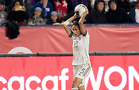 CARSON, CA - FEBRUARY 7: Bianca Sierra #13 of Mexico throws in the ball during a game between Mexico and USWNT at Dignity Health Sports Park on February 7, 2020 in Carson, California.