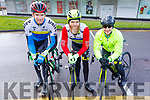 Stephen Reidy (Kilflynn), Paddy O'Sullivan (Ardfert) and Joseph Roche (Castleisland) at the Lacey Cup cycling on Sunday.