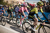 Maglia Rosa / overall leader Primoz Roglic (SVK/Jumbo-Visma) rolls over the finish line with the visible scars of an early stage crash. These didn't really affect his racing tactics and his team let the breakaway of the day go (and take the overall lead position)<br />  to be able to get some rest from the resposibilities that come with the Pink Jersey. <br /> <br /> Stage 6: Cassino to San Giovanni Rotondo (233km)<br /> 102nd Giro d'Italia 2019<br /> <br /> ©kramon
