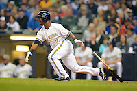 Milwaukee Brewers shortstop Jean Segura #9 during a game against the Minnesota Twins at Miller Park on May 27, 2013 in Milwaukee, Wisconsin.  Minnesota defeated Milwaukee 6-3.  (Mike Janes/Four Seam Images)