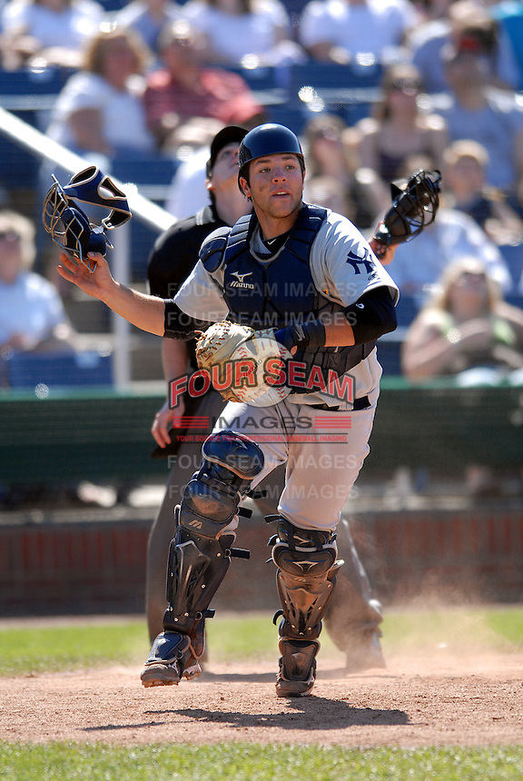 Austin Romine, catcher for the Trenton Thunder, the AA Eastern League affiliate of the New York Yankees, in action vs. the Portland Sea Dogs at Hadlock Field May 23, 2010 in Portland, ME (Photo by Ken Babbitt/Four Seam Images)