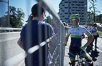 Simon Clarke (AUS/Orica-GreenEDGE) still smiling after finishing stage 17<br /> <br /> stage 17: Tirano - Lugano (SUI) (134km)<br /> 2015 Giro d'Italia