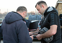 Lincoln City's Matt Rhead signs autographs for fans after arriving at the ground<br /> <br /> Photographer Chris Vaughan/CameraSport<br /> <br /> The EFL Sky Bet League Two - Lincoln City v Exeter City - Tuesday 26th February 2019 - Sincil Bank - Lincoln<br /> <br /> World Copyright © 2019 CameraSport. All rights reserved. 43 Linden Ave. Countesthorpe. Leicester. England. LE8 5PG - Tel: +44 (0) 116 277 4147 - admin@camerasport.com - www.camerasport.com