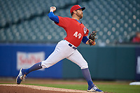Buffalo Bisons starting pitcher Conor Fisk (49) during an International League game against the Scranton/Wilkes-Barre RailRiders on June 5, 2019 at Sahlen Field in Buffalo, New York.  Scranton defeated Buffalo 4-0, the second game of a doubleheader. (Mike Janes/Four Seam Images)
