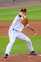 Wisconsin Timber Rattlers pitcher Aaron Ashby (17) delivers a pitch during a Midwest League game against the Burlington Bees on August 3, 2018 at Fox Cities Stadium in Appleton, Wisconsin. Wisconsin defeated Burlington 5-4. (Brad Krause/Four Seam Images)