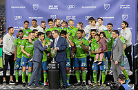 LOS ANGELES, CA - OCTOBER 29: The Seattle Sounders FC celebrate their MLS Western Conference victory over Los Angeles FC during a game between Seattle Sounders FC and Los Angeles FC at Banc of California Stadium on October 29, 2019 in Los Angeles, California.