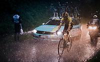 Lennard Hofstede (NED/Jumbo-Visma) caught in a torrential rainstorm that hits Stage 7: from Saint-Genix-les-Villages to Pipay  (133km)<br /> 71st Critérium du Dauphiné 2019 (2.UWT)<br /> <br /> ©kramon