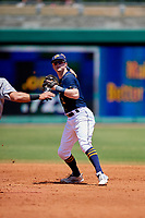 Montgomery Biscuits shortstop Jake Cronenworth (3) throws to first base during a game against the Biloxi Shuckers on May 8, 2018 at Montgomery Riverwalk Stadium in Montgomery, Alabama.  Montgomery defeated Biloxi 10-5.  (Mike Janes/Four Seam Images)