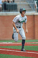 Corey Bird (4) of the Marshall Thundering Herd hustles down the first base line against the at Hayes Stadium on April 23, 2016 in Charlotte, North Carolina. The Thundering Herd defeated the 49ers 10-5.  (Brian Westerholt/Four Seam Images)