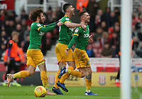 Preston North End's Alan Browne (right) celebrates scoring the opening goal with team-mate Ben Davies (centre) and Ben Pearson (left) <br /> <br /> Photographer Stephen White/CameraSport<br /> <br /> The EFL Sky Bet Championship - Stoke City v Preston North End - Saturday 26th January 2019 - bet365 Stadium - Stoke-on-Trent<br /> <br /> World Copyright © 2019 CameraSport. All rights reserved. 43 Linden Ave. Countesthorpe. Leicester. England. LE8 5PG - Tel: +44 (0) 116 277 4147 - admin@camerasport.com - www.camerasport.com