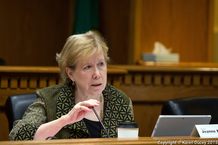 """Senator Jeanne Kohl-Welles (D) on the Washington State Senate Law and Justice Committee listens to public opinion on bill SB 5501 concerning revisions to the state's animal cruelty provisions on February 3, 2015 in Olympia, Wash. """"Animals, especially pets including cats and others besides dogs and chickens are knowledgeable that they have unconditional love for the people in their lives.  They're loving, they're totally loyal, and it breaks my heart when I hear about damage that's been inflicted on animals.  I strongly support this bill."""" she said.<br /> (Photos by Karen Ducey Photography)"""