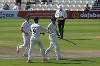 Delray Rawlins of Sussex shakes the hand of Middlesex batsman, Sam Robson, after scoring 253 as he walks back to the pavilion after losing his wicket during Sussex CCC vs Middlesex CCC, LV Insurance County Championship Division 3 Cricket at The 1st Central County Ground on 7th September 2021