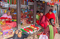 Nepal, Patan.  Durbar Square Shop Selling Plastic Bracelets and Bead Necklaces.