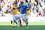 Motherwell v St Johnstone….30.03.19   Fir Park   SPFL<br />Ross Callachan is fouled<br />Picture by Graeme Hart. <br />Copyright Perthshire Picture Agency<br />Tel: 01738 623350  Mobile: 07990 594431