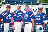 King and his Court Rich Hoppe, Dave Booth, Eddie Feigner and Gary West circa 1993.  (MJA/Four Seam Images)