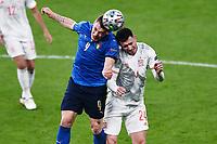 6th July 2021; Wembley Stadium, London, England; Euro 2020 Football Championships semi-final, Italy versus Spain;  Andrea Belotti (Ita) and Aymeric Laporte (Esp) challenge for the header