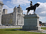 This bronze equestrian statue of King Edward VII by William Goscombe John is 16 ft (5 m) high and stands in front of the Cunard Building in Liverpool..