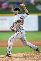 Fresno Grizzlies pitcher Chris Heston (31) delivers a pitch to the plate during the Pacific Coast League baseball game against the Round Rock Express on June 22, 2014 at the Dell Diamond in Round Rock, Texas. The Express defeated the Grizzlies 2-1. (Andrew Woolley/Four Seam Images)
