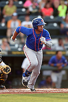 St. Lucie Mets third baseman Jhoan Urena (13) runs to first during a game against the Bradenton Marauders on April 11, 2015 at McKechnie Field in Bradenton, Florida.  St. Lucie defeated Bradenton 3-2.  (Mike Janes/Four Seam Images)
