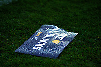 A fan placard lies on the pitch during the Bledisloe Cup rugby union match between the New Zealand All Blacks and Australia Wallabies at Sky Stadium in Wellington, New Zealand on Sunday, 11 October 2020. Photo: Dave Lintott / lintottphoto.co.nz