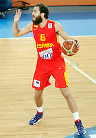 Sergio Rodriguez of Spain in action during  European basketball championship Eurobasket 2013, round 2, group F basketball game between Greece and Spain in Stozice Arena in Ljubljana, Slovenia, on September 12. 2013. (credit: Pedja Milosavljevic  / thepedja@gmail.com / +381641260959)