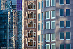 Windows in the financial district in Boston, MA, USA