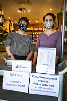 Rebecca Clark and Polly Crone of Bohemein Fresh Chocolates cafe on Featherston Street at 9am, Friday during Level 3 lockdown for the COVID-19 pandemic in Wellington, New Zealand on Friday, 1 May 2020. Photo: Dave Lintott / lintottphoto.co.nz