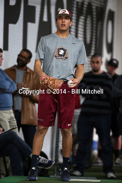 Andrew Vasquez participates in the a showcase for scouts at the PFA training facility in Upland, California on December 26, 2014 (Bill Mitchell)