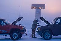 Broken down vehicle getting a jump start in minus 42 degree temperatures, Fairbanks, Alaska