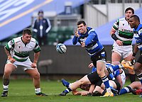 21st November 2020; Recreation Ground, Bath, Somerset, England; English Premiership Rugby, Bath versus Newcastle Falcons; Ben Spencer of Bath passes from the ruck