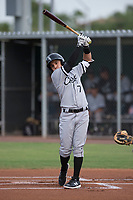 AZL White Sox first round draft pick and designated hitter Nick Madrigal (7) takes a warm-up swing before an at bat during an Arizona League game against the AZL Cubs 2 at Sloan Park on July 13, 2018 in Mesa, Arizona. The AZL Cubs 2 defeated the AZL White Sox 6-4. (Zachary Lucy/Four Seam Images)