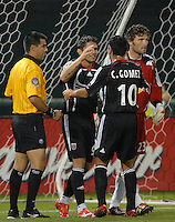 DC United forward Jaime Moreno (99)  celebrates scoring his 109th career MLS goal with teammate Christian Gomez (10). DC United defeated the New York Red Bulls 3-1 at RFK Stadium in Washington DC, Thursday August  22, 2007.