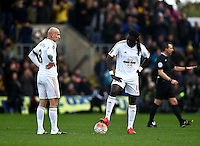 Dejected Michu of Swansea and Bafetimbi Gomis of Swansea after conceding 3rd goal  during the Emirates FA Cup 3rd Round between Oxford United v Swansea     played at Kassam Stadium  on 10th January 2016 in Oxford